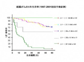 結腸がんの5年生存率(1997-2001年初回手術症例)